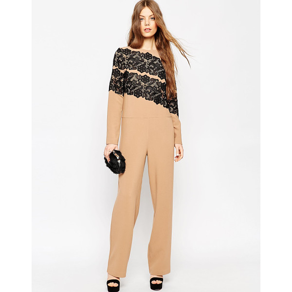 ASOS Premium Jumpsuit with Lace Applique - Jumpsuit by ASOS Collection, Thick woven fabric, Mid-weight...