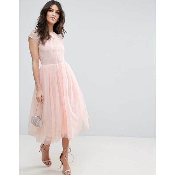 """ASOS PREMIUM Lace Tulle Midi Prom Dress - """"""""Midi dress by ASOS Collection, Lined tulle, Crew neck,..."""