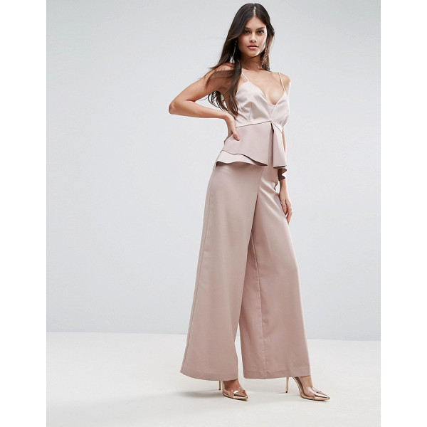 """ASOS Premium Occasion Jumpsuit with Pephem - """"""""Jumpsuit by ASOS Collection, Smooth woven fabric, Plunge..."""