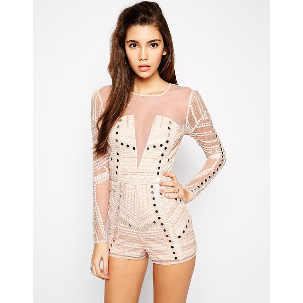 ASOS Premium romper with mirror embellishment - Romper by ASOS Collection Sheer mesh overlay, heavy...