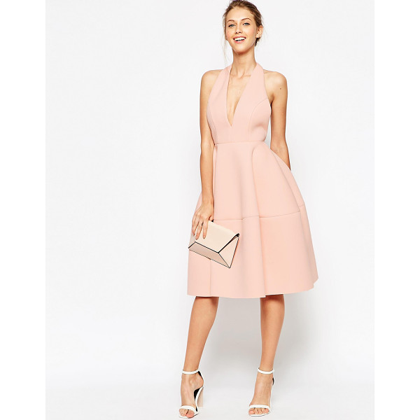 ASOS Premium scuba backless halter full midi dress - Midi dress by ASOS Collection Unlined mid-weight scuba Soft...