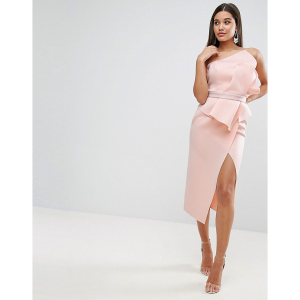 ASOS PREMIUM Scuba Bandeau Fold Front Midi Dress - Midi dress by ASOS Collection, Thick stretch fabric, Smooth...