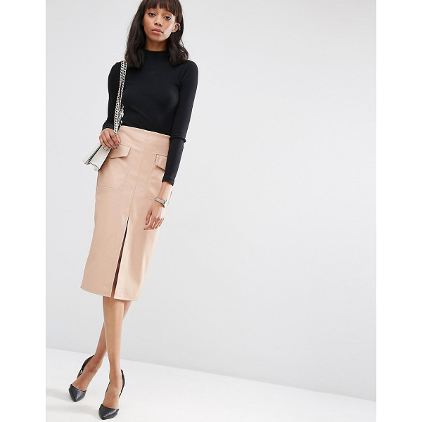 "ASOS PU Pencil Skirt with Pockets and Front Split - """"Pencil skirt by ASOS Collection, Faux leather, High..."