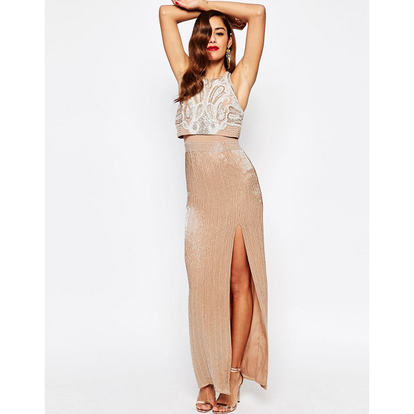 Asos red carpet all over embellished crop top maxi dress for Robe maxi mariage asos