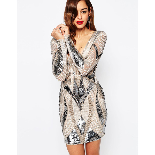 ASOS Red carpet embellished deep plunge mini bodycon dress - Body-Conscious dress by ASOS Collection Medium-weight lined...