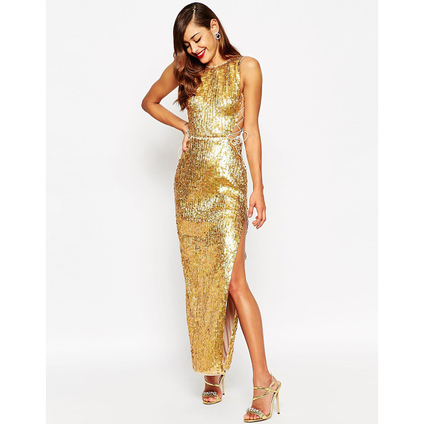 ASOS Red carpet gold shell lace up side maxi dress - Maxi dress by ASOS Collection, Sequin embellished fabric,...