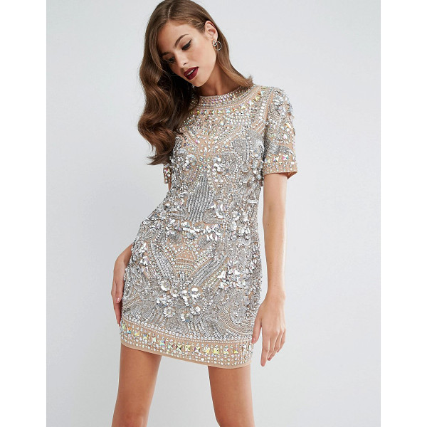 ASOS RED CARPET Showgirl Sequin Tank Mini Dress - Dress by ASOS Collection, Embellished mesh, Crew neckline,...