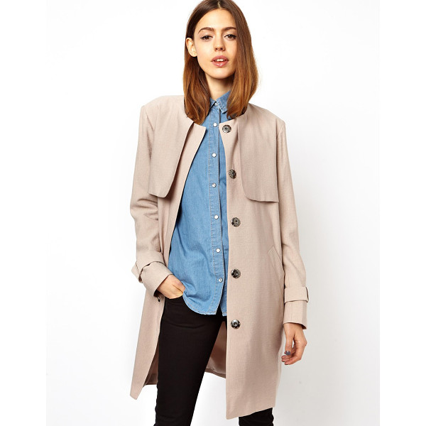 ASOS Relaxed trench - Dry clean only. Body: 87% Viscose, 13% Nylon Lining: 100%...