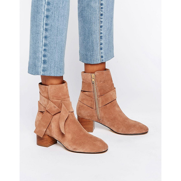 ASOS RENZEL Suede Bow Ankle Boots - Boots by ASOS Collection, Suede upper, Side zip fastening,...