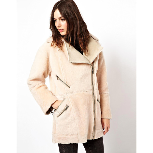 """ASOS Premium Leather Biker Jacket in Reverse Shearling - """"""""Jacket by ASOS Collection, Heavyweight warm shearling,..."""