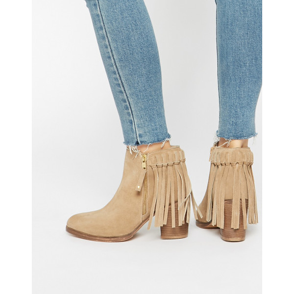 ASOS RHYMES Suede Fringe Ankle Boots - Boots by ASOS Collection, Real suede upper, Side zip...