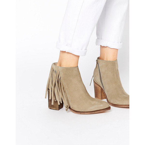 ASOS Riley suede western fringe ankle boots - Boots by ASOS Collection, Smooth suede upper, Side zip...
