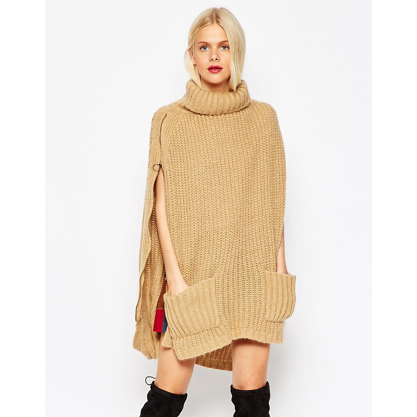 ASOS Roll neck cape with pockets - Cape by ASOS Collection Chunky ribbed knit High roll neck...