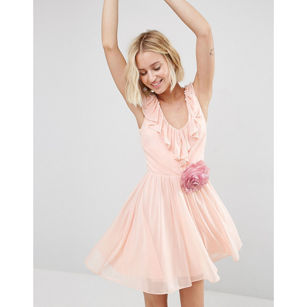 ASOS Ruffle V Front Mini with Detachable Corsage - Dress by ASOS Collection, Lined chiffon, Plunge neckline...