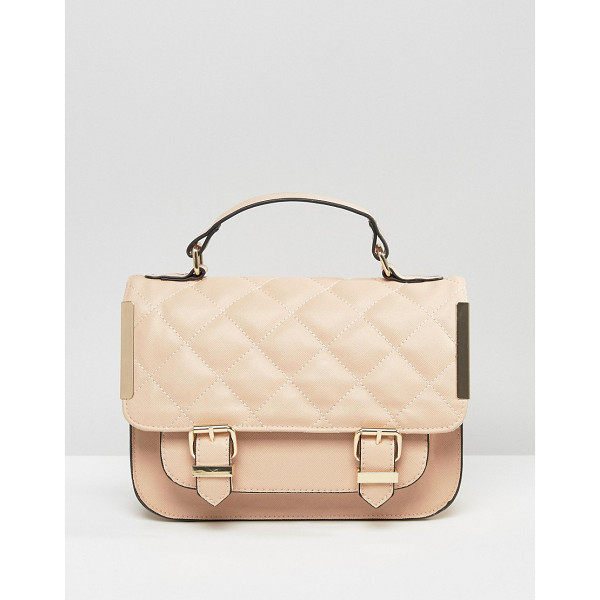 ASOS Satchel Bag With Quilted Flap And Metal Side Tab - Bag by ASOS Collection, Faux-leather outer, Quilted design,...