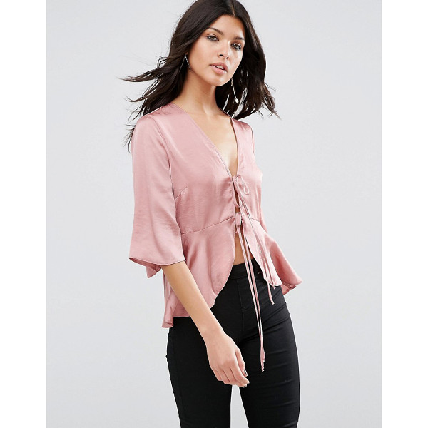 ASOS Satin Drape Tie Front Blouse - Blouse by ASOS Collection, Satin touch fabric, Plunge...