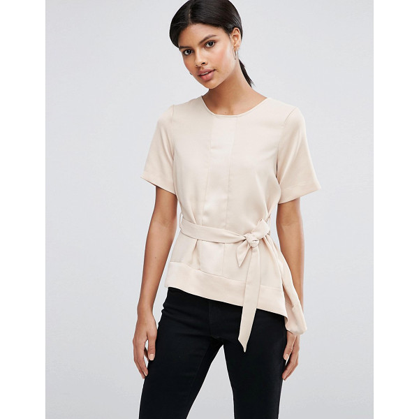 ASOS Satin Matte & Shine Asymmetric Tee with Tie Waist - T-shirt by ASOS Collection, Satin-style paneled finish,...