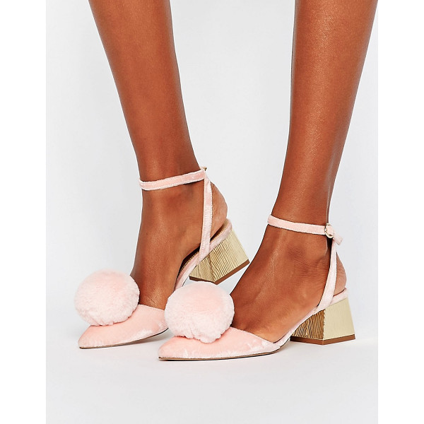 ASOS SAUCY Pom Pom Mid Heels - Heels by ASOS Collection, Velvet upper, Ankle-strap