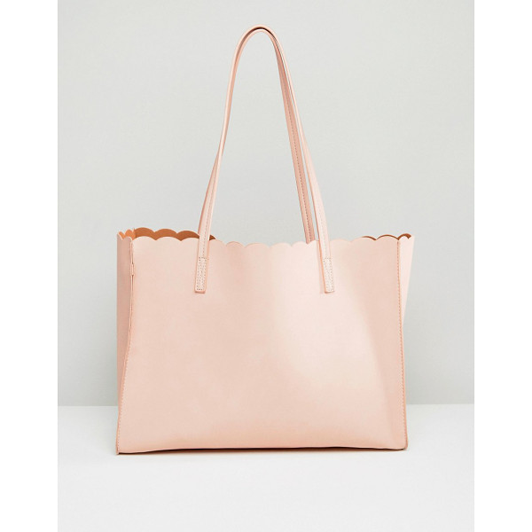 ASOS Scallop Shopper Bag With Removable Clutch - Bag by ASOS Collection, Faux-leather outer, Open top,...