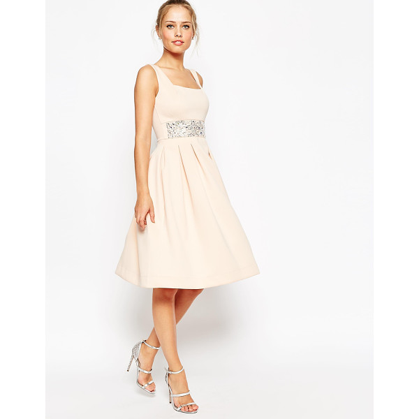 ASOS Scuba debutante midi dress with embellished waist - Evening dress by ASOS Collection Mid-weight scuba-style...