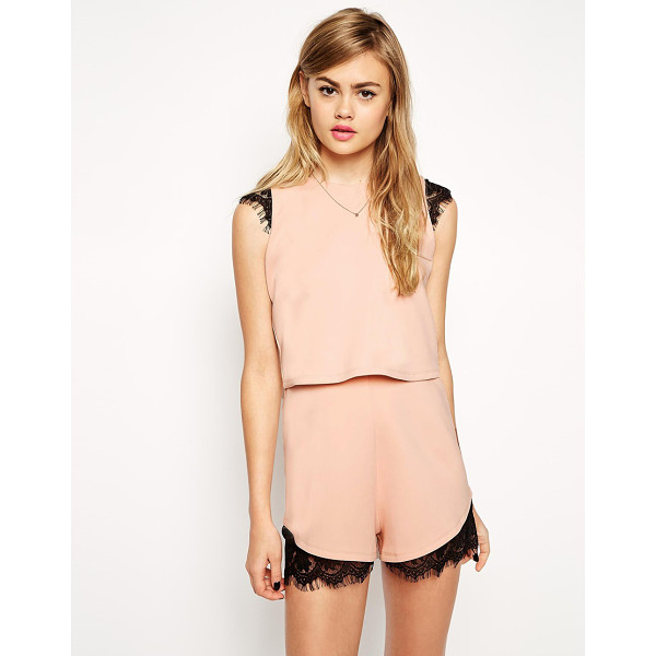 ASOS Scuba Romper With Double Layer And Lace Insert - Romper by ASOS Collection, Smooth stretch scuba, Crew...