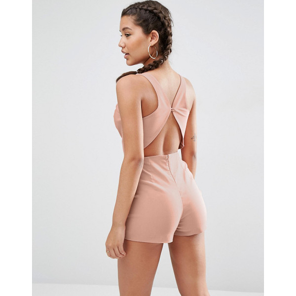 ASOS Sculpt Me Plunge Romper with Back Detail - Romper by ASOS Collection, Stretch woven fabric, Tailored...