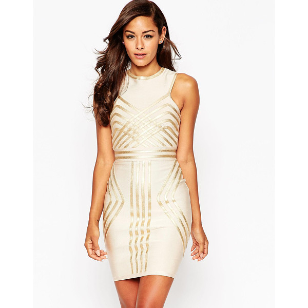 ASOS SCULPT Premium Bandage Metallic Pipping Mini Body-Conscious Dress - Body-Conscious dress by ASOS Collection, Firm-stretch...