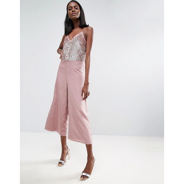 ASOS Sequin Jumpsuit with Raw Edge Detail and Culotte Leg - Jumpsuit by ASOS Collection, Soft-touch satin, Fully lined,...