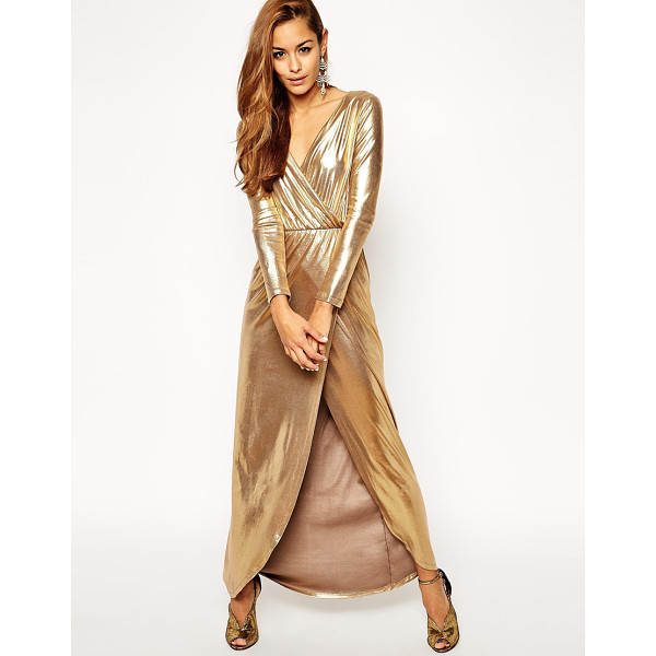 ASOS Sexy gold wrap maxi dress - Maxi dress by ASOS Collection Silky-feel fabric with...