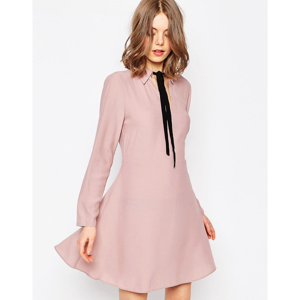 ASOS Shirt Dress With Contrast Tie - Dress by ASOS Collection, Lightweight woven fabric, Spread...