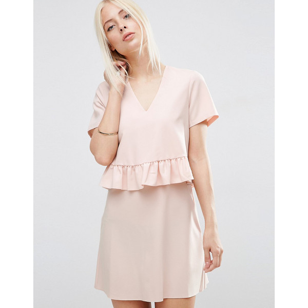 ASOS Short Sleeve Double Layer Ruffle Dress - Dress by ASOS Collection, Smooth woven fabric, V-neckline,...
