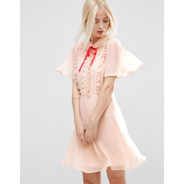 ASOS Short Sleeve Ruffle Front Tea Dress with Contrast Tie - Dress by ASOS Collection, Woven fabric, Cami lining, Frill...