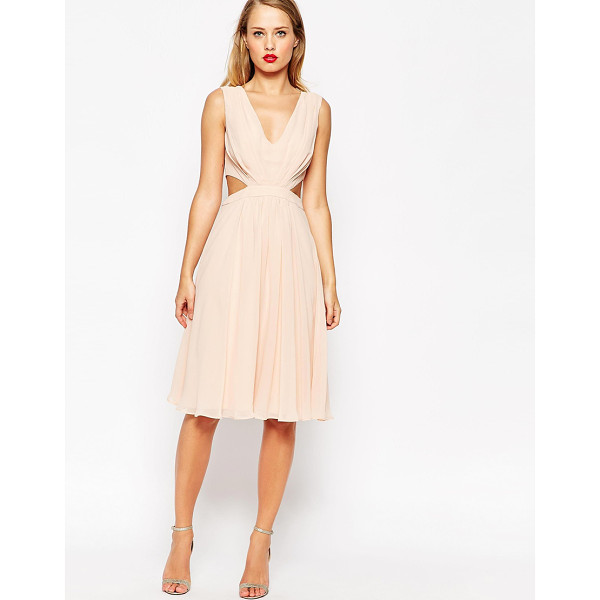 ASOS Side Cut Out Midi Dress - Dress by ASOS Collection, Lightweight, lined chiffon,...