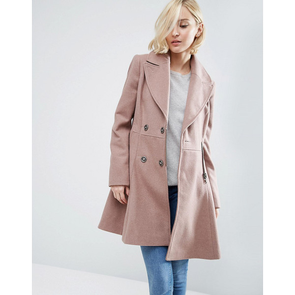 ASOS Skater Coat in Wool Blend with Biker Detail - Coat by ASOS Collection, Wool-blend fabric, Fully lined,...