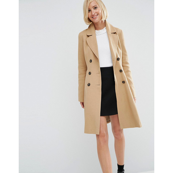 ASOS Skater Coat with Double Breast Button Detail - Coat by ASOS Collection, Mid-weight woven cotton, Textured...