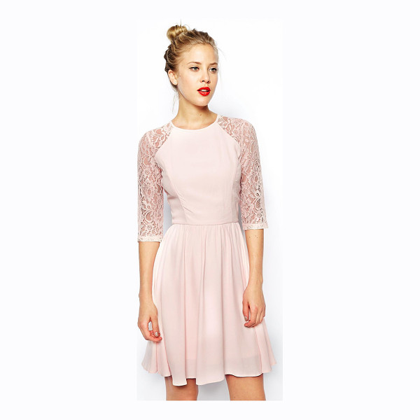 ASOS Skater dress with lace sleeves - Machine Wash According To Instructions On Care Label. Body:...