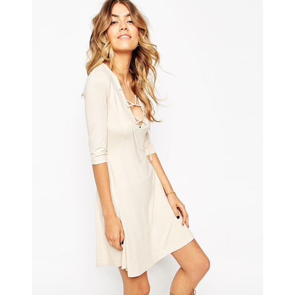Asos Skater Dress With Lace Up Front Nudevotion Com