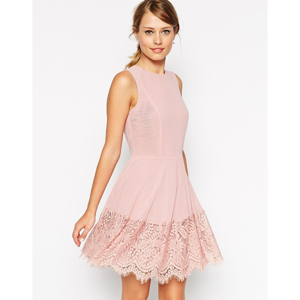 ASOS Skater dress with micro pleat and lace detail - Dress by ASOS Collection Lined chiffon Crew neckline...