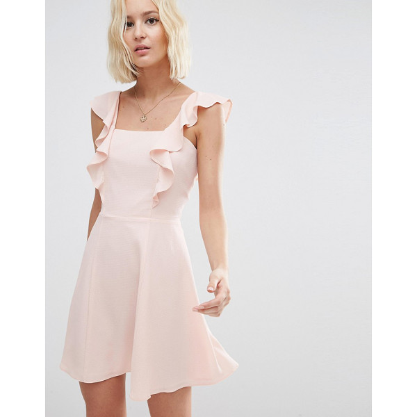 ASOS Skater Dress with Square Neck and Ruffle Detail - Skater dress by ASOS Collection, Lightweight woven fabric,...
