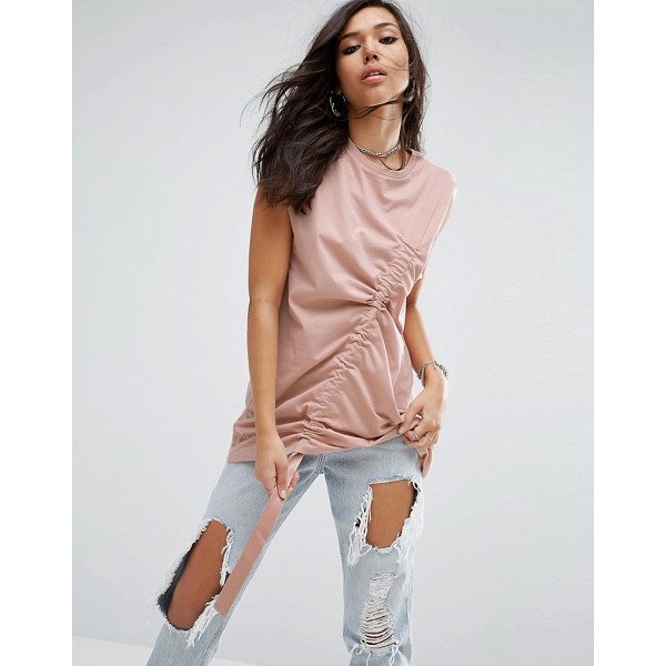"""ASOS Sleeveless Oversized T-shirt with Drawstring Detail - """"""""T-shirt by ASOS Collection, Pure cotton jersey, Crew..."""