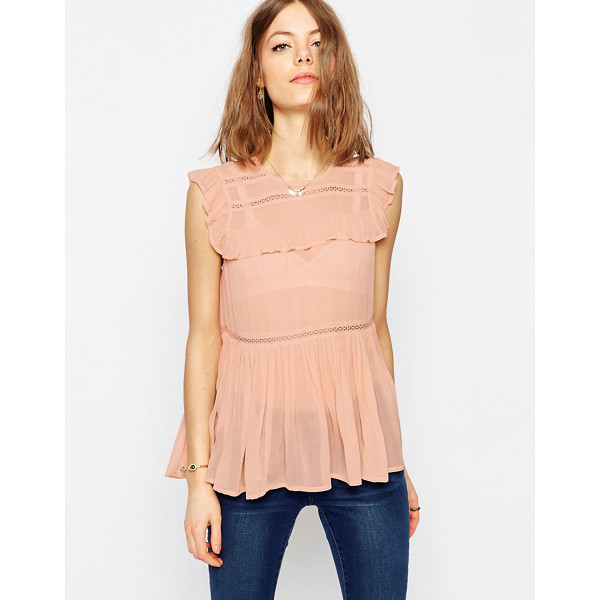 ASOS Sleeveless Tiered Ruffle Blouse with Lace Inserts - Blouse by ASOS Collection, Lightweight woven fabric, High...