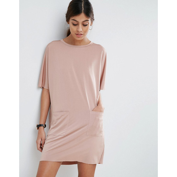 """ASOS Slinky T-Shirt Dress With Pockets - """"""""Dress by ASOS Collection, Soft-touch slinky jersey, Crew..."""
