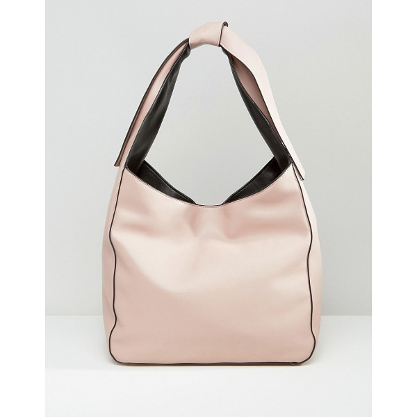 ASOS Slouch Shoulder Bag With Tie Detail - Bag by ASOS Collection, Faux-leather outer, Contrast
