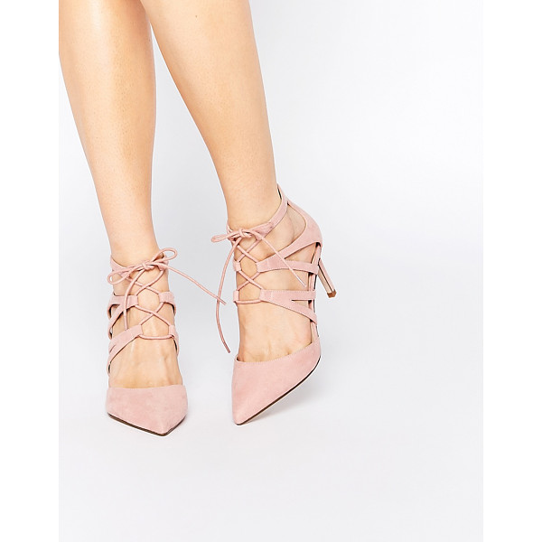 ASOS Solar lace up pointed heels - Heels by ASOS Collection Suede-look upper Point toe Strappy...