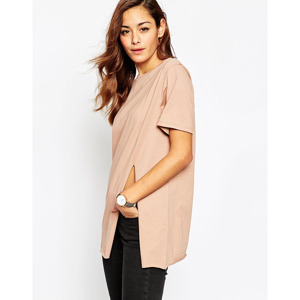 ASOS Split Front T-Shirt - T-shirt by ASOS Collection, Jersey fabric, Crew neck, Front...