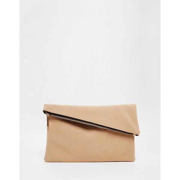 ASOS Square clutch bag with slanted zip top - Clutch bag by ASOS Collection Faux-leather outer Contrast...
