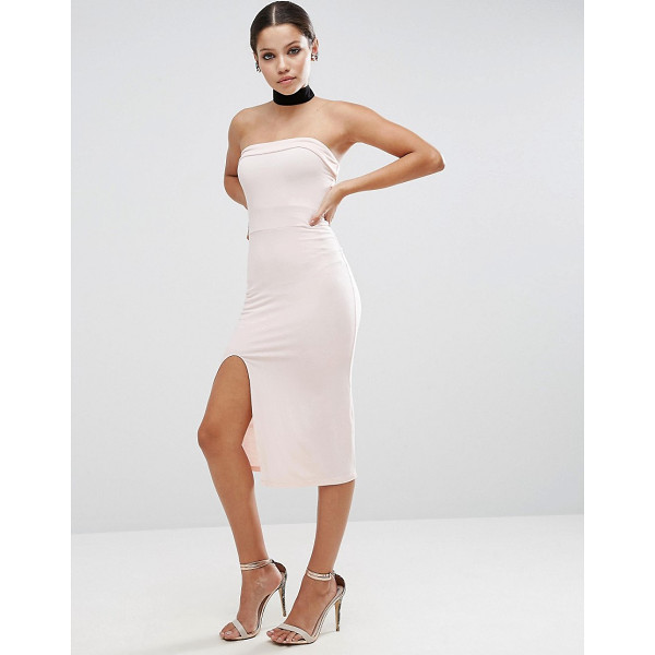 "ASOS Strapless Midi Bodycon Dress with Curved Splits - """"Dress by ASOS Collection, Smooth stretch fabric, Bandeau..."