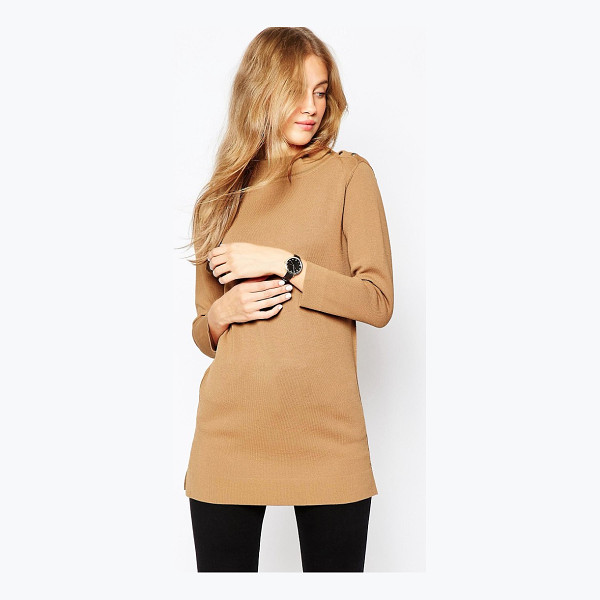 ASOS Structured Knit Tunic with Button Up High Neck - Sweater by ASOS Collection, Lightweight structured knit,...