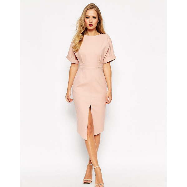 ASOS Structured Split Front Wiggle - Pencil dress by ASOS Collection, Lined cotton-mix fabric,...
