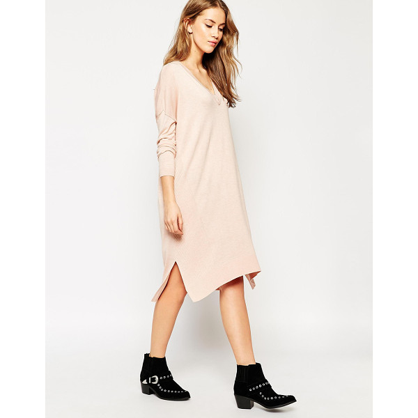 ASOS Sweater dress in fine knit and side split with silk blend - Knit dress by ASOS Collection, Lightweight, silk-mix knit,...